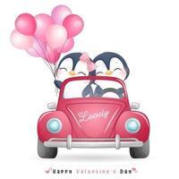 mignon pingouin doodle pour la saint valentin