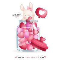 mignon lapin doodle pour la saint valentin vecteur