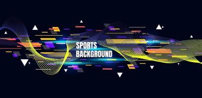 art coloré abstrait pour fond de sport. particules dynamiques. élément de science et technologie moderne avec conception de ligne. illustration vectorielle