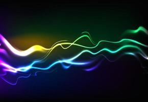 ondes sonores parlantes modernes oscillant lumière bleu foncé, fond de technologie abstraite. illustration vectorielle vecteur