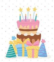 joyeux anniversaire, gâteau bougies étoiles cadeaux chapeaux fête célébration vecteur