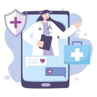 concept de télémédecine avec médecin sur le smartphone
