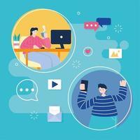 jeune femme et homme sur les réseaux sociaux