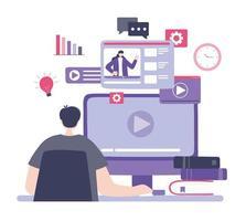 Jeune homme regardant des didacticiels vidéo, cours de développement des connaissances en utilisant Internet