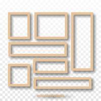 cadres vierges en bois isolés, illustration vectorielle vecteur