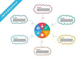 infographie avec des bulles et des icônes de cartographie mentale colorée vecteur