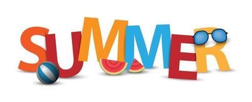 Création de logo ou d'étiquette de bannière d'été 3D, illustration vectorielle vecteur