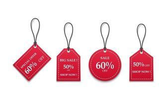 Vente d'étiquettes de prix de papier rouge 3D isolé sur fond blanc, illustration vectorielle