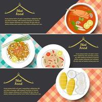 bannière de cuisine thaï traditionnelle, illustration vectorielle
