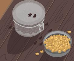 Raisins secs dans un vecteur de pot
