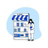 magasin de pharmacie, concept de pharmacie en ligne vecteur