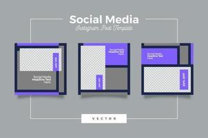 modèle de publication de médias sociaux modernes violet