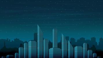 le paysage urbain du futur sans électricité par une nuit noire. ciel étoilé au-dessus des tours de la ville vecteur