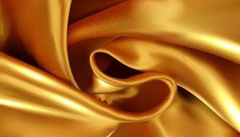 Abstrait tissu soyeux or illustration 3d textile tourbillonné réaliste vecteur