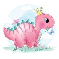 dinosaure mignon avec illustration florale vecteur