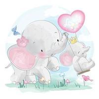 éléphants mignons avec illustration de balançoire vecteur