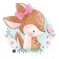 cerf mignon avec illustration florale vecteur