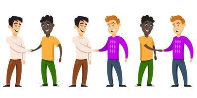 ensemble d'hommes se serrant la main vecteur