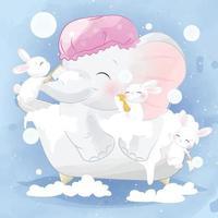 éléphant mignon avec des lapins prenant une illustration de bain vecteur