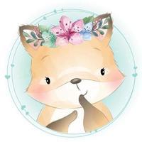 mignon foxy avec illustration florale vecteur