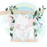 éléphant mignon avec lapin sur balançoire vecteur