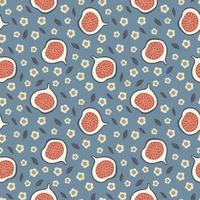 joli modèle sans couture avec des figues et des fleurs. conception de tissu. concept d'été. vecteur