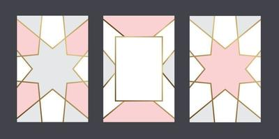 Obtenir des cartes fond de couleur pastel géométrique avec ligne d'or pour la conception de vecteur de message texte
