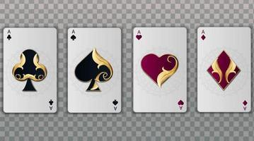 ensemble de quatre costumes de cartes à jouer élégantes as vecteur