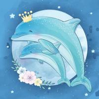 illustration mignonne mère et bébé dauphin vecteur