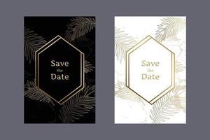 Cartes d'invitation de mariage élégant motif de marbre fond noir et blanc avec des feuilles d'or et des cadres géométriques modèle de conception de vecteur