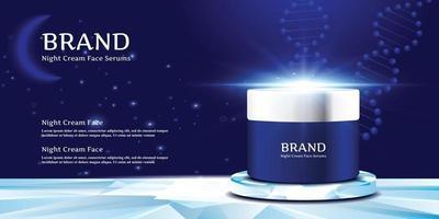 pot de crème cosmétique sur le support élégant avec le ciel nocturne et l'illustration vectorielle de fond de lune vecteur