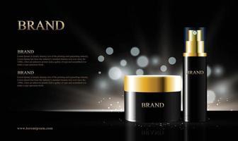 fond noir pour les produits cosmétiques avec des lumières bokeh emballage illustration 3d vecteur