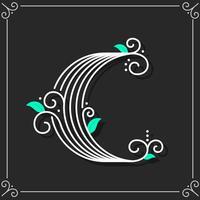 Lettre décorative C Typographie vecteur