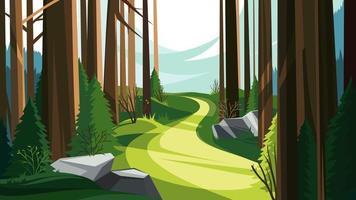route dans la forêt de printemps vecteur