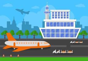 aérogare avec avion au décollage et différents types de transport éléments modèles vector illustration