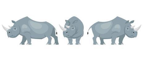 rhinocéros dans différentes poses. vecteur