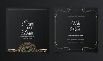 luxe enregistrer le jeu de cartes d'invitation de mariage date vecteur