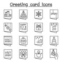 icône de carte de voeux définie dans un style de ligne mince