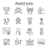 prix, récompense, icônes de trophées définies dans un style de ligne mince