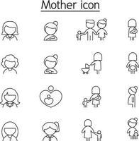 icône de mère et femme dans un style de ligne mince vecteur