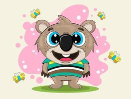koala de dessin animé dans un t-shirt rayé vecteur