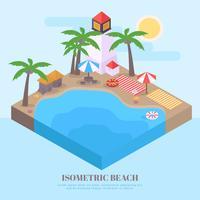 Paysage tropical isométrique de vecteur