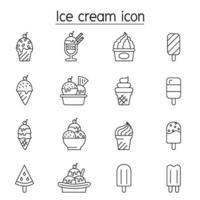 icône de crème glacée dans un style de ligne mince