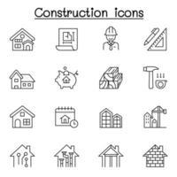 icône de construction définie dans le style de ligne mince vecteur