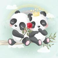 illustration de couple mignon panda vecteur
