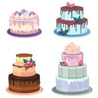 ensemble de différents gâteaux vecteur
