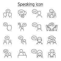 Parler, discours, discussion, dialogue, parler, chat, conférence, icône de réunion définie dans le style de ligne mince