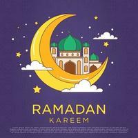 Ornement de ramadan kareem de dessin animé monoline simple avec illustration vectorielle de couleur vive. mosquée et mois dessiné ligne simple. fond eid mubarak vecteur