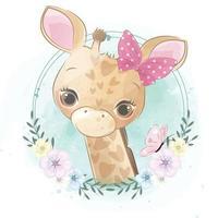 girafe mignonne avec illustration florale vecteur