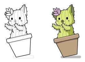 Page de coloriage de dessin animé de personnage de chat cactus pour les enfants vecteur